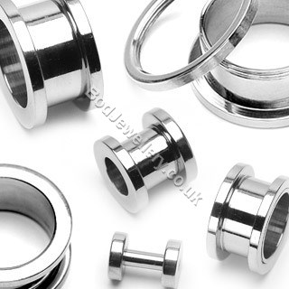 316L Steel Screw Ear Tunnel/ Flesh 1.6 to 19mm