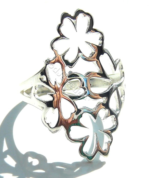 f0024b6d9ab70 925 Sterling Silver Multiple Flowers Big Ring, Size L - R