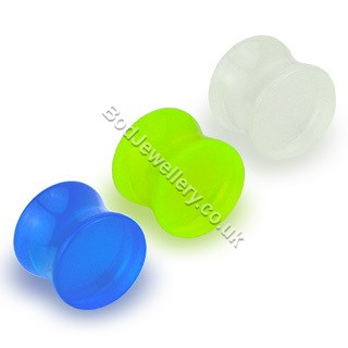 Acrylic Saddle Glow In The Dark Ear Tunnel Plug 3 Colours 3mm - 25mm