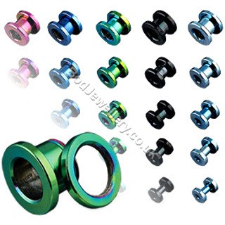 Anodized Steel Screw Ear Tunnel (5 colours 1.6mm to 19mm)