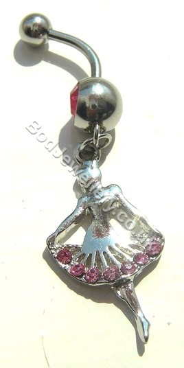 Ballerina Belly Bar With Pink Rhinestone