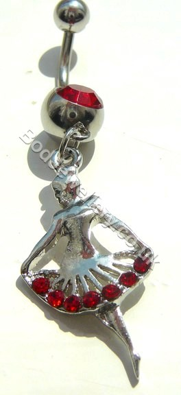 Ballerina Belly Bar With Red Rhinestone