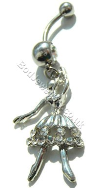 Ballerina Belly Navel Bar With Clear Rhinestone (1)
