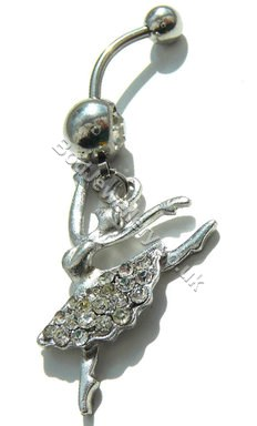 Ballerina Belly Navel Bar With Clear Rhinestone