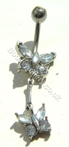 Butterfly Belly Bar Rhodium Plated With Clear Crystals