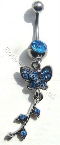 Butterfly Belly Bar With Blue Rhinestone
