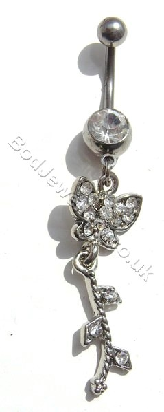 Butterfly Belly Bar With Clear Rhinestone