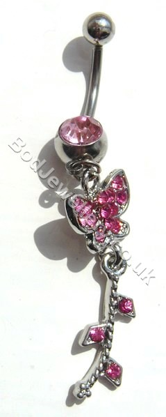 Butterfly Belly Bar With Dark Pink Rhinestone