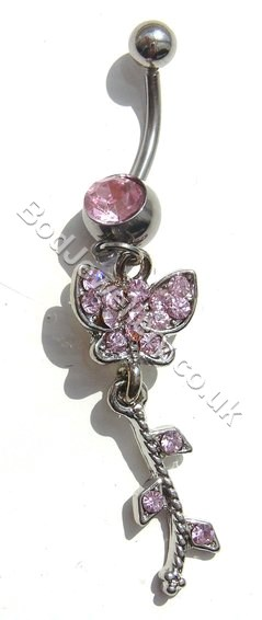 Butterfly Belly Bar With Pink Rhinestone