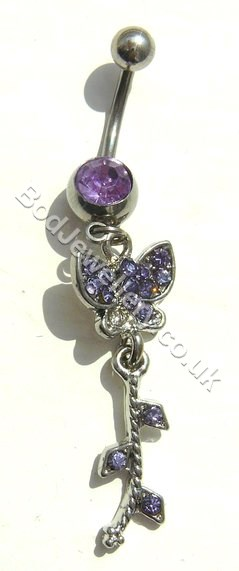 Butterfly Belly Bar With Purple Rhinestone