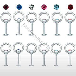 Dangle Ring With Gem Labret/ Monroe 5 Colours 10mm Bar Piercing