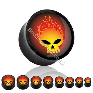 Fire Skull Acrylic Saddle Ear Tunnel/Plug 8mm to 19mm