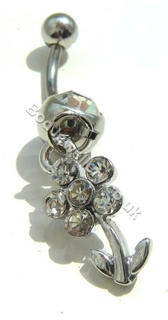 Flower Belly Bar Rhodium Plated With Clear  Crystals