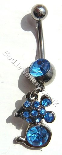 Mouse Belly Bar With Blue Rhinestone