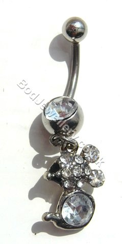 Mouse Belly Bar With Clear Rhinestone