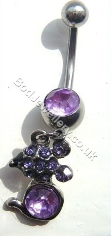 Mouse Belly Bar With Purple Rhinestone