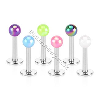 Pearl Coated Acrylic Ball Labret/ Monroe 6 Colours 8mm Bar Piercing