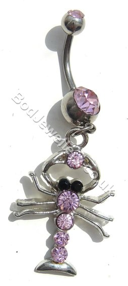 Scorpion Belly Bar With Pink Rhinestone