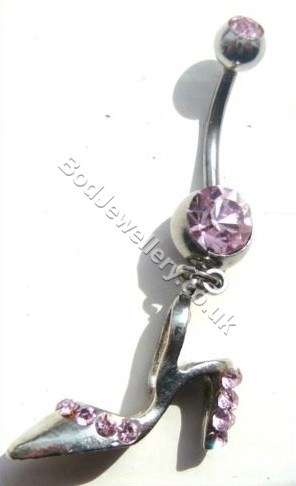 Shoe Belly Bar With Pink Rhinestone