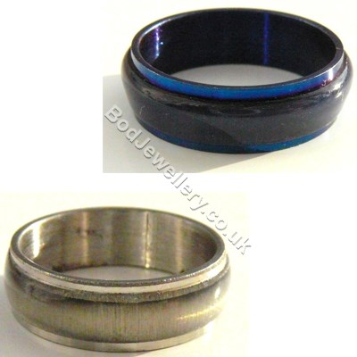 Stainless Steel Blue Or Silver Ring, Size M - V