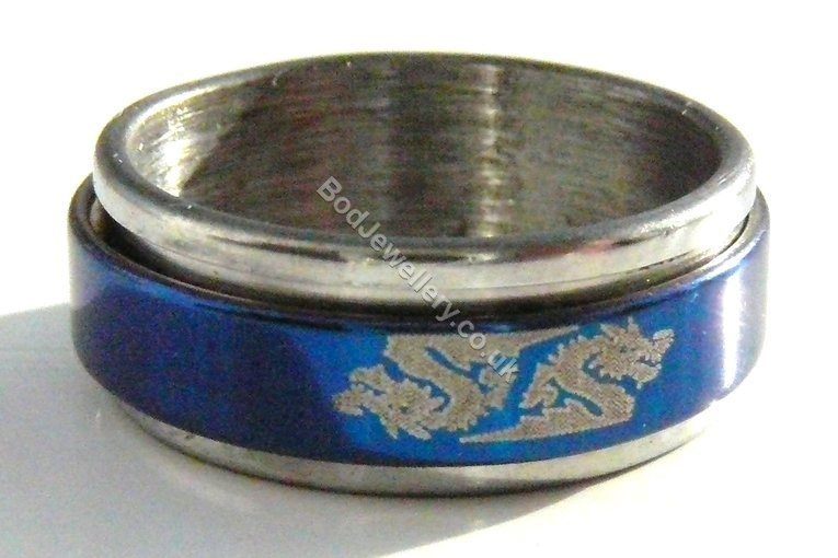 Stainless Steel Blue Spinner Dragon Ring, Size M & P