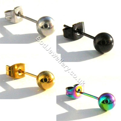 Stainless Steel Pair Ball Stud Earring 4 Colours 2 Sizes