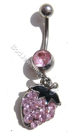 Strawberry Belly Bar With Pink Rhinestone